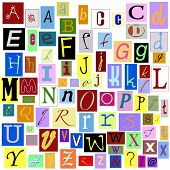 Alphabet Magazine Letters isolated so you can make your own unique words. TIFF file has individual l