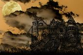 image of victorian houses  - Old Victorian Haunted Mansion Illustrated on a Spooky Background With Moon for Halloween - JPG