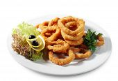 Seafood - Fried Calamari. Deep-fried Squid Dressed with Salad Leaves, Parsley, Olives and Lemon. Iso