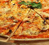 Piece of Mushroom Pizza on a Wood Tray