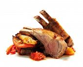 stock photo of lamb chops  - Roasted Lamb Chops with Asian - JPG