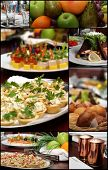 stock photo of gourmet food  - Collage from Banquet Table Photo - JPG