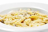 stock photo of pene  - Pasta Pene with Mushrooms and Chicken Meat - JPG
