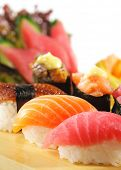 Japanese Cuisine - Sushi Set: Salmon, Conger and Tuna Sishi with Salad Leaf