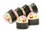Japanese Cuisine - Sushi Roll with Salmon, Shrimps and Conger and Cucumber