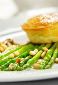 Appetizer - Goat's milk Cheese Pate on Fresh Asparagus with Mushrooms