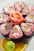 Tobiko Maki Sushi - Roll made of Tobiko (flying fish caviar), Cream Cheese and Tamago (japanese omelet)