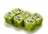 Green Flying Fish Roe Maki Sushi - Roll made of Cream Cheese, Shrimp (ebi), Cucumber and Smoked Eel