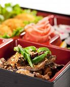 Japanese Bento Lunch - Mushrooms Salad with Hot Rice Appetizer and Hot Roll