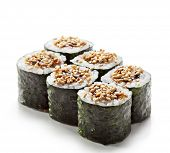 Unagi Maki - Smoked Eel Sushi Roll. Topped with Eel Sauce and Sesame