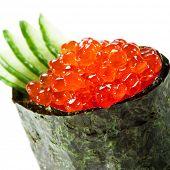 Постер, плакат: Икура лосось Roe гункан суши Маки с огурцом