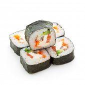 Philadelphia Maki Sushi - Roll made of Smoked Eel, Cream Cheese, Tobiko and Salmon inside. Seaweed outside