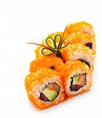 stock photo of masago  - Maki Sushi with Masago   - JPG