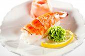Japanese Cuisine -  Shrimp Nigiri Sushi with Ginger and Wasabi(ebi) Nigiri Sushi with Ginger and Wasabi