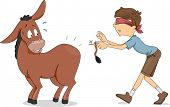 Illustration of a Boy Trying to Pin the Donkey's Tail