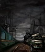 Steampunk Landscape With Trains And Metal Buildings, Digital Painting