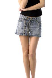stock photo of short legs  - bare legs of girl in short jeans skirt isolated on white - JPG