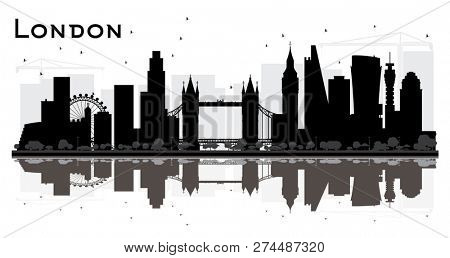 London England City Skyline Silhouette