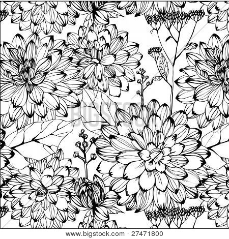 Seamless pattern with black and white flowers image id27471800 seamless pattern with black and white flowers picture mightylinksfo