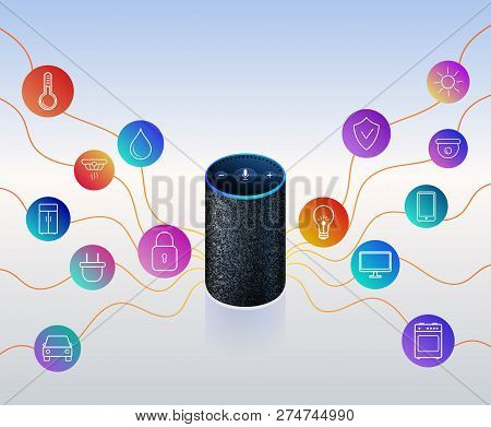 poster of Smart Speaker For Smart Home Control. Icons On Colorful Gradient. Voice Control Gadget Of Your House