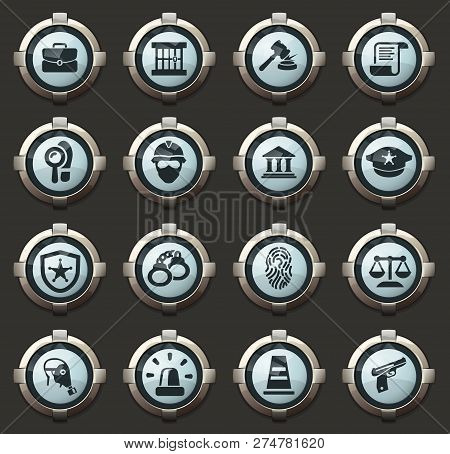 Police Vector Icons In The