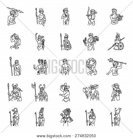 25 Ancient Gods Outlines Vector