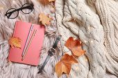 Flat Lay Composition With Book, Autumn Leaves And Warm Clothes On Fuzzy Rug poster
