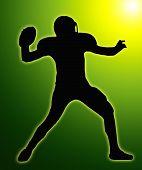 Fulgor verde silhueta futebol americano Quarterback Throw