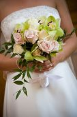 picture of flower arrangement  - Bridal wedding flowers and brides pretty bouquet - JPG