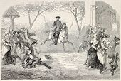 Fanfan La Tulipe theatrical representation in Paris, first act. Created by Melingue after d?cor of Cheret, published on L'Illustration, Journal Universel, Paris, 1858 poster