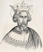 Charlemagne old engraved portrait. Created by Gagniet after painting kept in Vatican, published on L