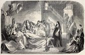 Vocero old illustration (funeral lamentations in Corse custom). Created by Janet-Lange after Colonna d'Istria, published on L'Illustration, Journal Universel, Paris, 1858
