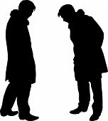 Two Man's Silhouettes In Warm Outer Clothing