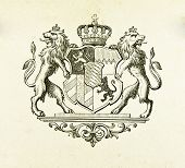 Wappen des Königreichs Bayern. Illustration von Alwin Zschiesche, veröffentlicht am