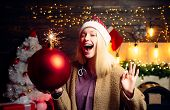 Christmas Woman Hold Bomb. Woman Smile Christmas. Merry Christmas And Happy New Year. Crazy Comical  poster