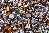 Colorful Bolts And Nuts Screws Texture Background poster