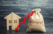 Bag With The Money And The Word Mortgage And Arrow To Down And House. Low Interest In Mortgages. Red poster
