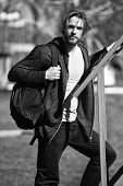 Active Concept. Active Man With Backpack Outdoor. Active And Healthy Lifestyle. As Active As You Dar poster