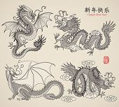 Set of Dragons. Vector illustration.