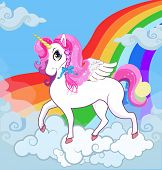 Multicolor Vector Cartoon Baby Illustration Of White Pony Unicorn Princess Character With Big Eyes,  poster