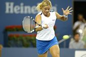 FLUSHING, NY - SEPTEMBER 6:  Kim Clijsters of Belgium returns to Venus Williams (not shown) during the U.S. Open at the USTA National Tennis Center on September 6, 2005 in Flushing, NY.