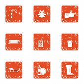 Stay Cool Icons Set. Grunge Set Of 9 Stay Cool Icons For Web Isolated On White Background poster