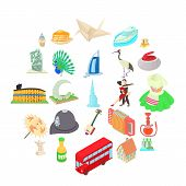 Culture Icons Set. Cartoon Set Of 25 Culture Icons For Web Isolated On White Background poster