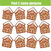 Find The Same Pictures Children Educational Game. Find Two Identical Christmas Gingerbread Cookies poster