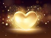 Golden Heart Background. St Valentines Symbol On Golden Background. 3d Realistic Illustration Design poster