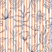 Hand Drawn Pattern Sketch Style Wild Flowers . Line Nature Style,drawing Flora,hand Drawn Botany. Ve poster