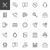 Custom Service Outline Icons Set. Linear Style Symbols Collection, Line Signs Pack. Vector Graphics. poster