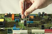 Microelectronics Engineering And Technology Concept. Electronic Board. Detail For Electronic Circuit poster