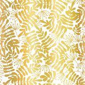 Gold Foil Leaves Seamless Vector Background. Golden Abstract Leaf Shapes On White Background. Elegan poster