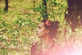 Eco, Nature, Vitality. Youth, Beauty, Pretty Girl Or Cute Woman With Flower In Brunette Hair, Hairst poster